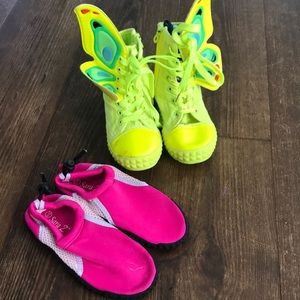 Darling neon butterfly sneaker and water shoes